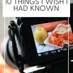 pinterest pin with text at the top and photo of a camera taking photos of food