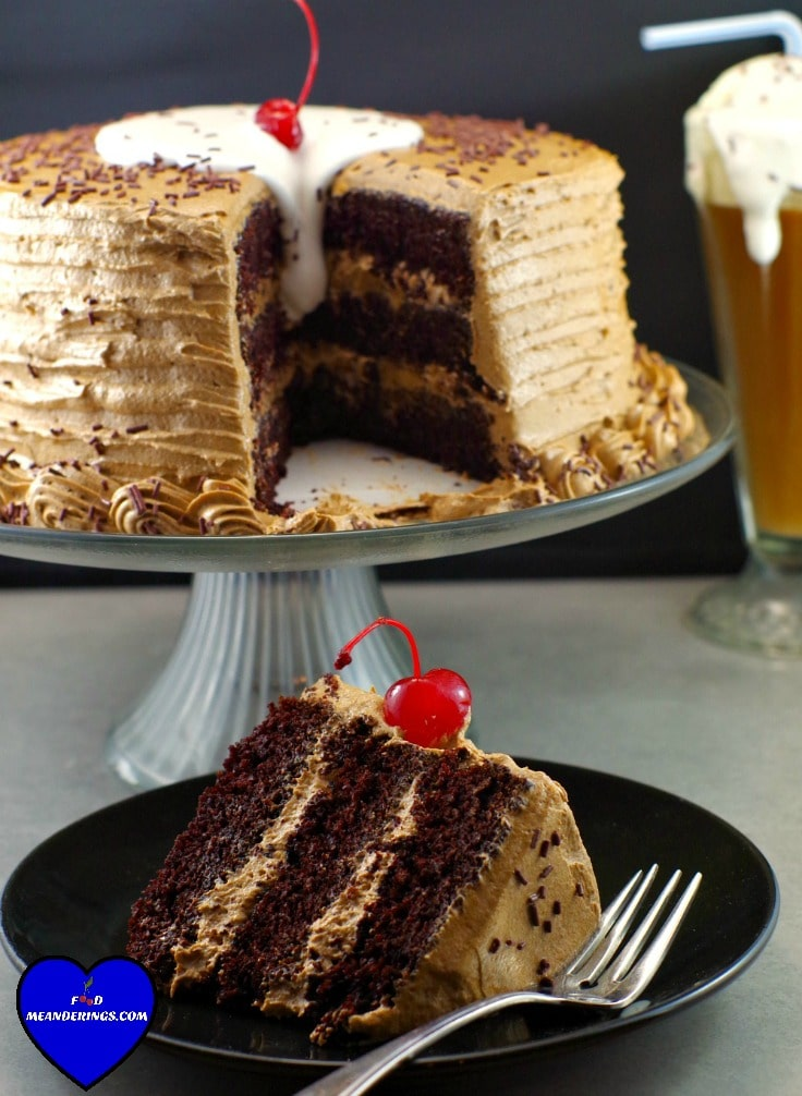 root beer, root beer float cake, chocolate cake, happy birthday cake