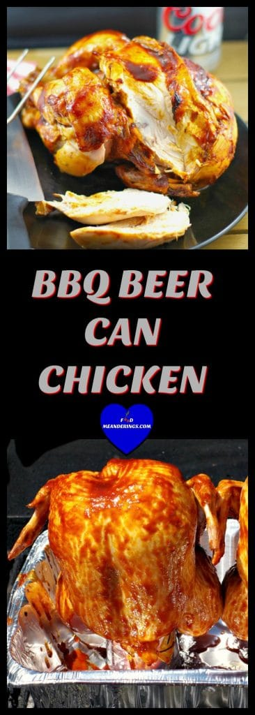BBQ Beer Can Chicken | beer BBQ sauce- Foodmeanderings.com