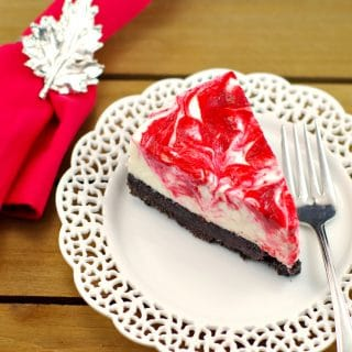 No Bake Light Red & White Chocolate Rhubarb Cheesecake – Happy Canada Day!