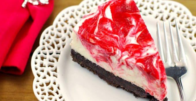 No Bake Light Red & White Chocolate Rhubarb Cheesecake – Happy Canada Day!