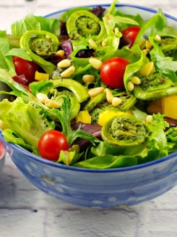 Spring Salad with Blackberry Vinaigrette and Fiddleheads #fiddleheads | foodmeanderings.com