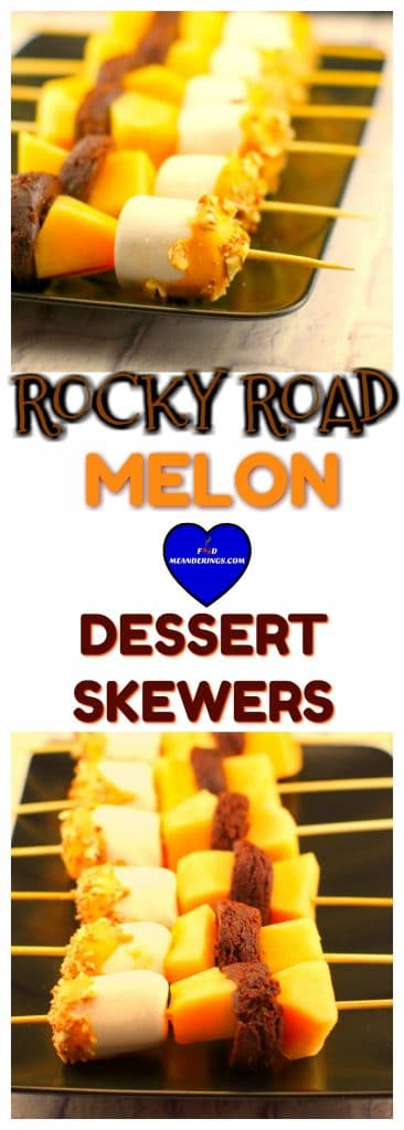 Rocky Road Melon Dessert Skewer | summer potluck dessert idea - Foodmeanderings.com
