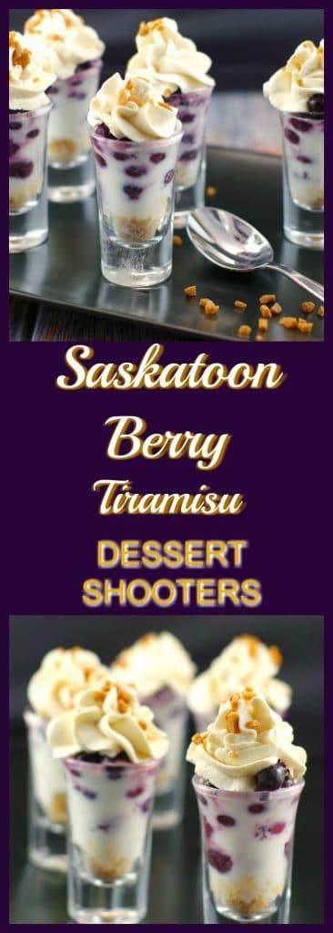 Saskatoon Berry Tiramisu Dessert Shooter Recipe | Juneberries - Foodmeanderings.com