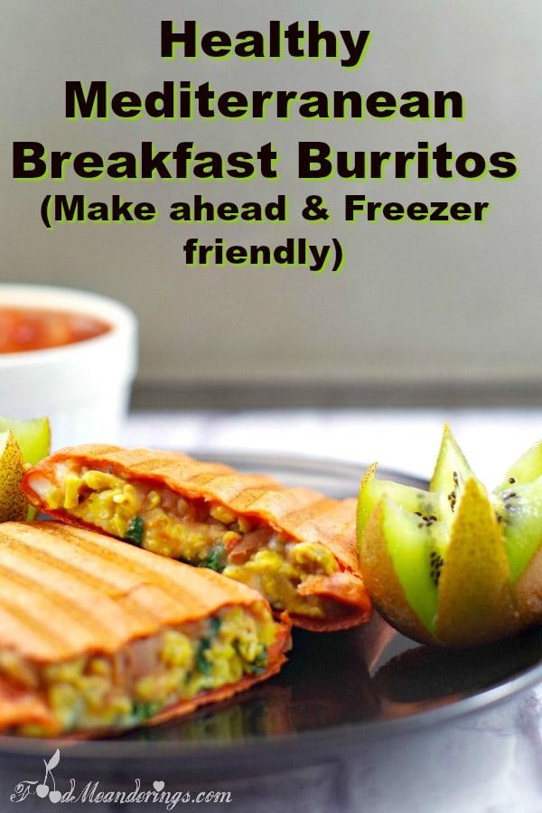 Healthy Mediterranean Breakfast Burrito - vegetarian - foodmeanderings.com