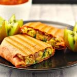 Mediterranean Breakfast Burrito | freezable, healthy - Foodmeanderings.com