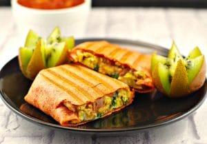 Mediterranean Breakfast Burrito | freezable, healthy - Foodmeanderings.com