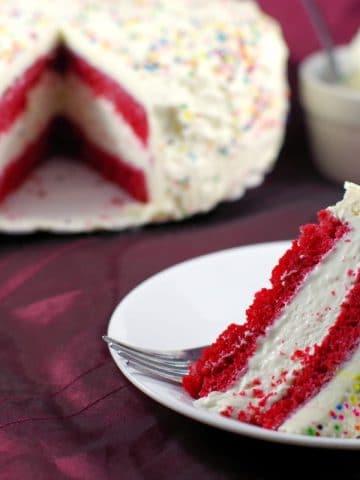 Red Velvet Ice Cream Cake | cream cheese frosting - Foodmeanderings.com