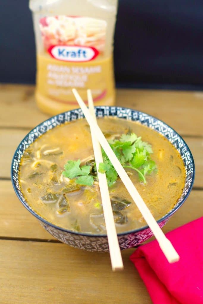 Quick Asian beef noodle soup   #saladdressingideas - Foodmeanderings.com
