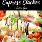 Pinterest pin with text on the top and bottom and photo of sheet pan caprese chicken in the middle