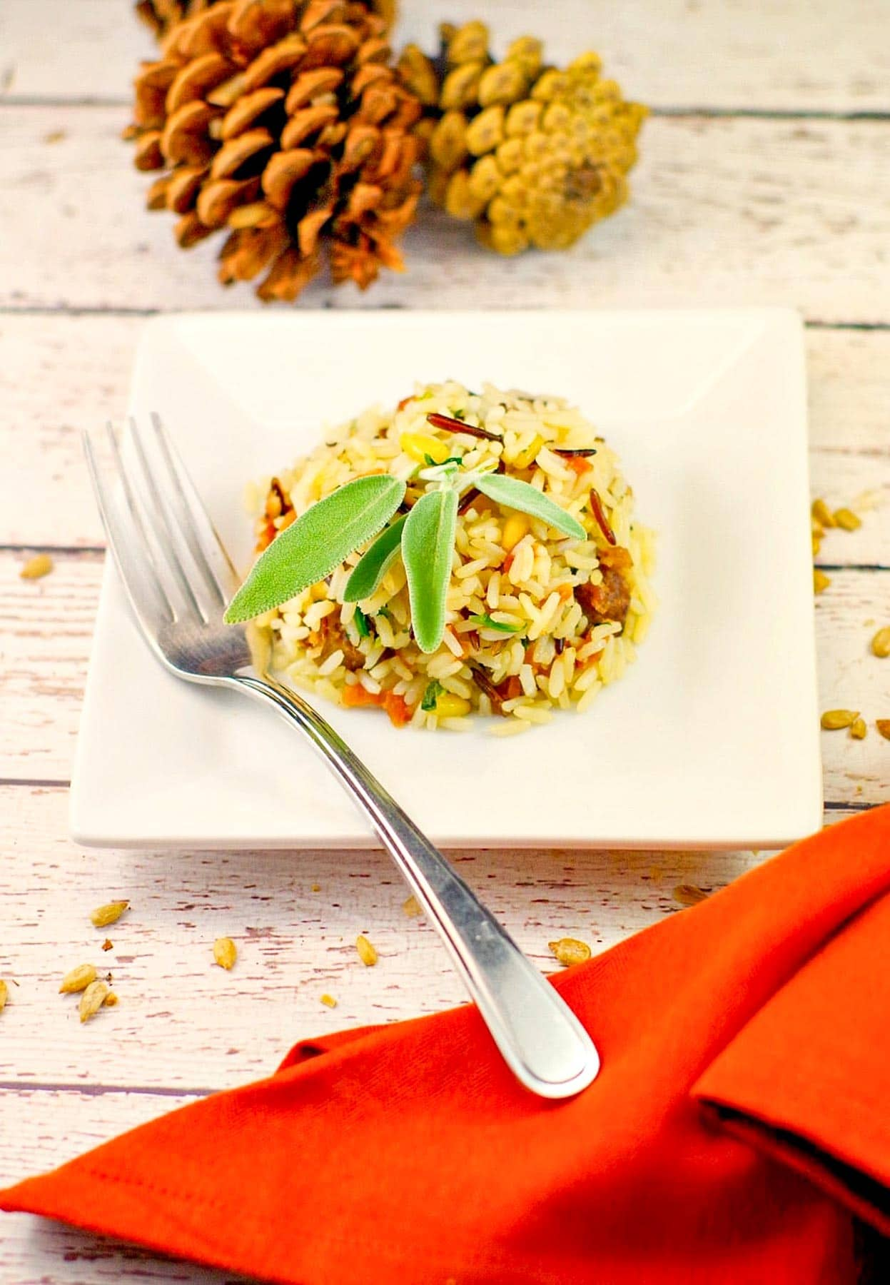 apple rice with sausage on a white plate with pine cones in the background