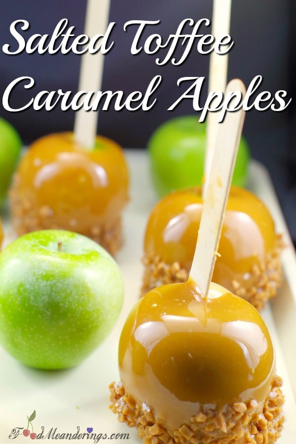Salted Toffee Caramel Apples | Halloween apples - foodmeanderings.com