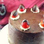 Strawberry Red Wine Chocolate Cake | #redwinecake - Foodmeanderings.com