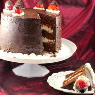Red Wine Strawberry Chocolate Fudge Cake: A decadent adult birthday cake
