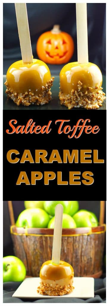 Salted Toffee Caramel apples | #Halloween #apples - Foodmeanderings.com