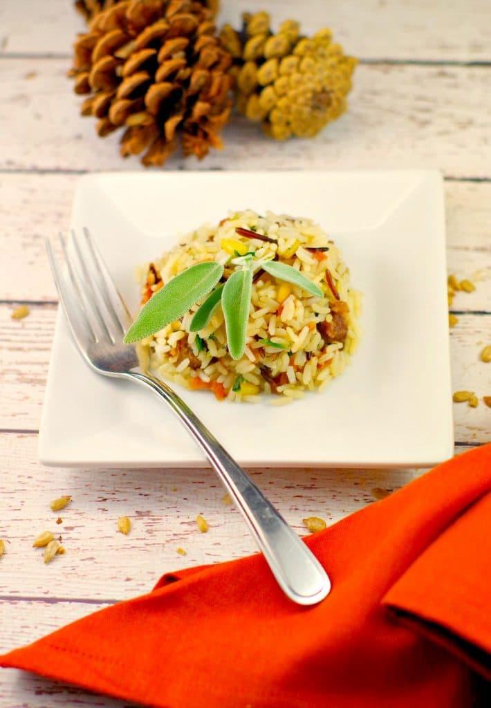 Sausage & Apple Rice | #glutnenfree #thanksgivingsidedish - Foodmeanderings.com