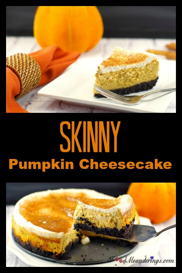 Skinny Pumpkin Cheesecake (low-fat) |Thanksgiving dessert - foodmeanderings.com