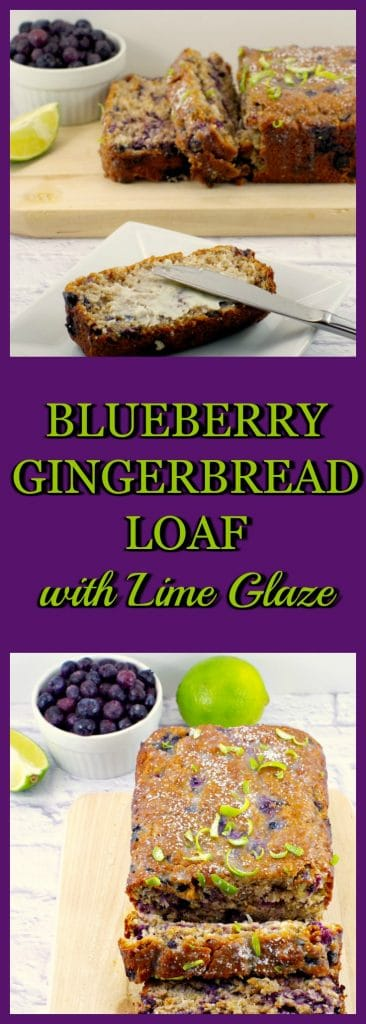 Blueberry Gingerbread Loaf with lime glaze | #blueberry #gingerbread - Foodmeanderings.com