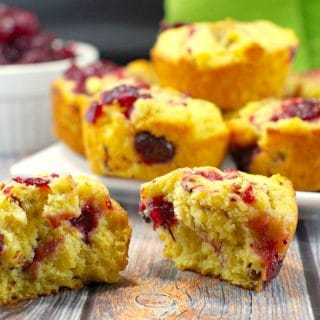 Cranberry Cornbread Muffins |leftover cranberry sauce - Foodmeanderings.com
