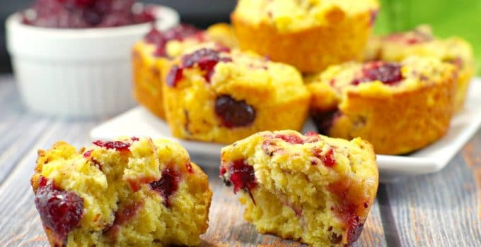 Cranberry Swirl Cornbread Muffins: Leftover Cranberry sauce