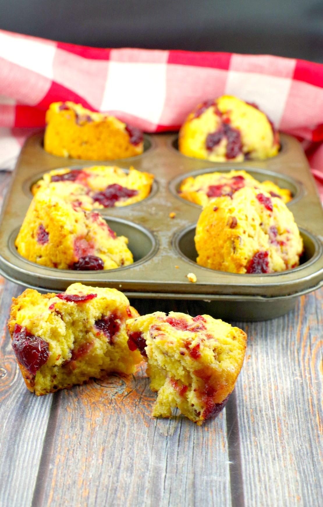 Cranberry Swirl Cornbread Muffins   leftover cranberry sauce - Foodmeanderings.com