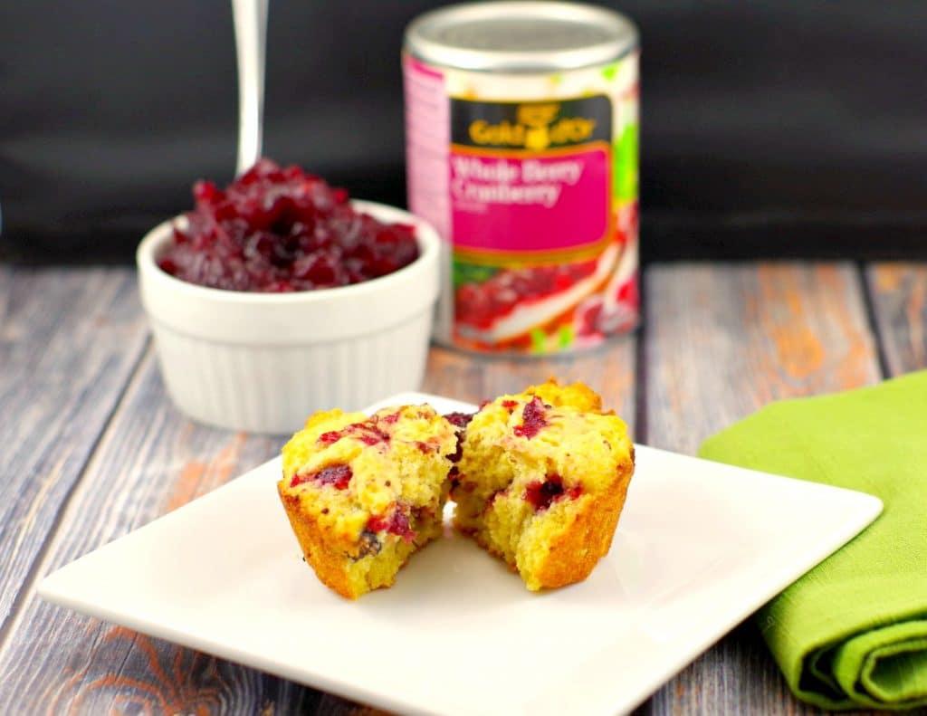 Cranberry Cornbread muffins | leftover cranberry sauce - Foodmeanderings.com