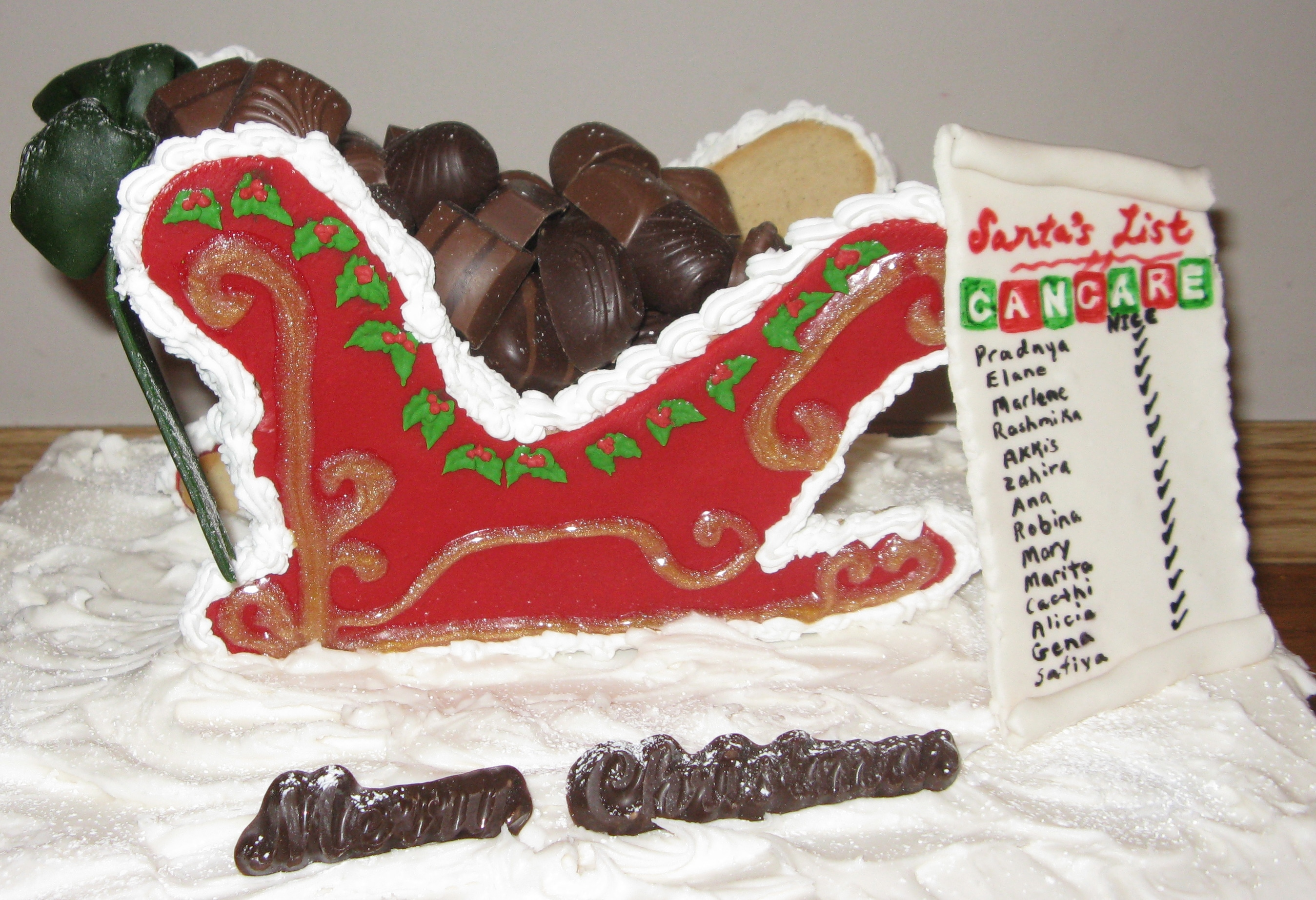 gingerbread sled filled with chocolate