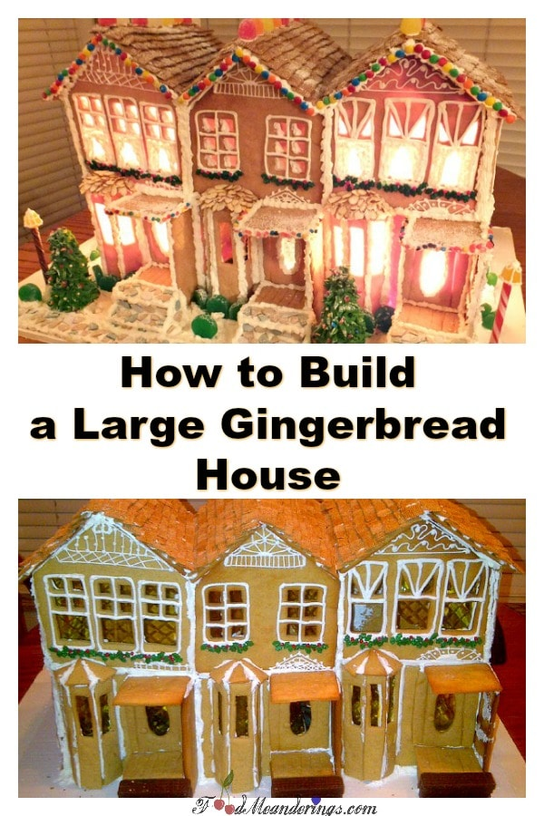 How to build a large gingerbread house | #gingerbreadhouse-foodmeanderings.com
