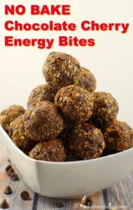 No Bake Chocolate Cherry Energy Bites - foodmeanderings.com