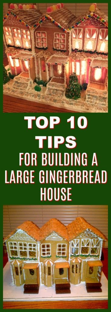 Top 10 tips for building a large gingerbread house | #gingerbreadhouse- Foodmeanderings.com