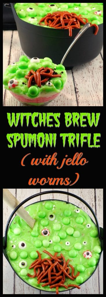 Witches Brew Spumoni Trifle | #halloweenpotluckdessert -foodmeanderings.com