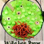 Witches brew spumoni trifle | with jello worms -foodmeanderings.com