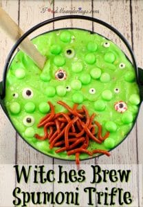 Witches brew spumoni trifle   with jello worms -foodmeanderings.com