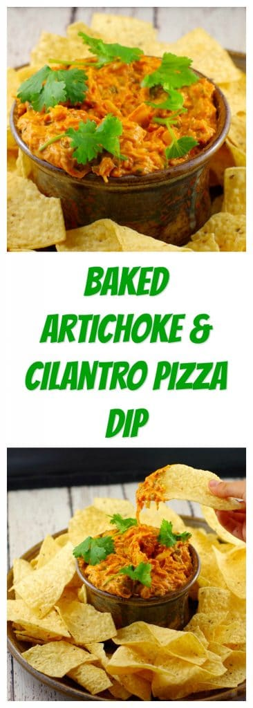 Baked Artichoke & Cilantro Pizza Dip |game day food - Foodmeanderings.com