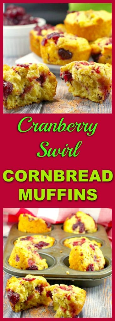 Cranberry Swirl Cornbread Muffins | leftover cranberry sauce - Foodmeanderings.com