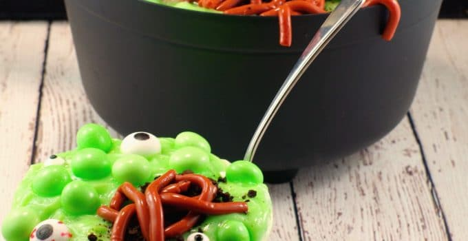 Witches Brew Spumoni Trifle (with jello worms): A Halloween Potluck Dessert