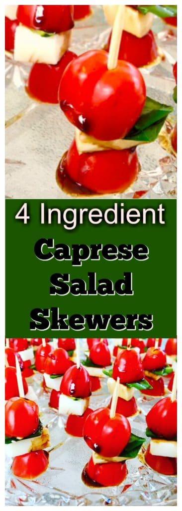 4 Ingredient Caprese Salad Skewer | #healthyappetizer - foodmeanderings.com