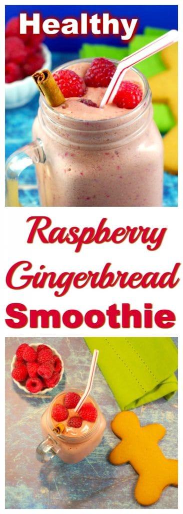 Healthy Raspberry Gingerbread smoothie | #smoothie - Foodmeanderings.com
