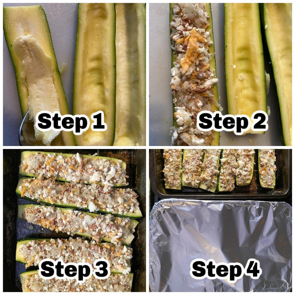 collage of 4 photos of steps to make perogy zucchini boats