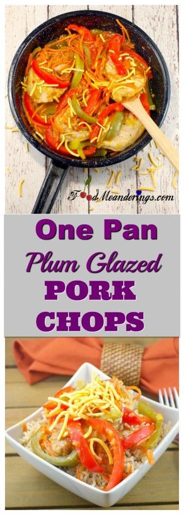 One Pan Plum Glazed Pork Chops | #plumpork - Foodmeanderings.com
