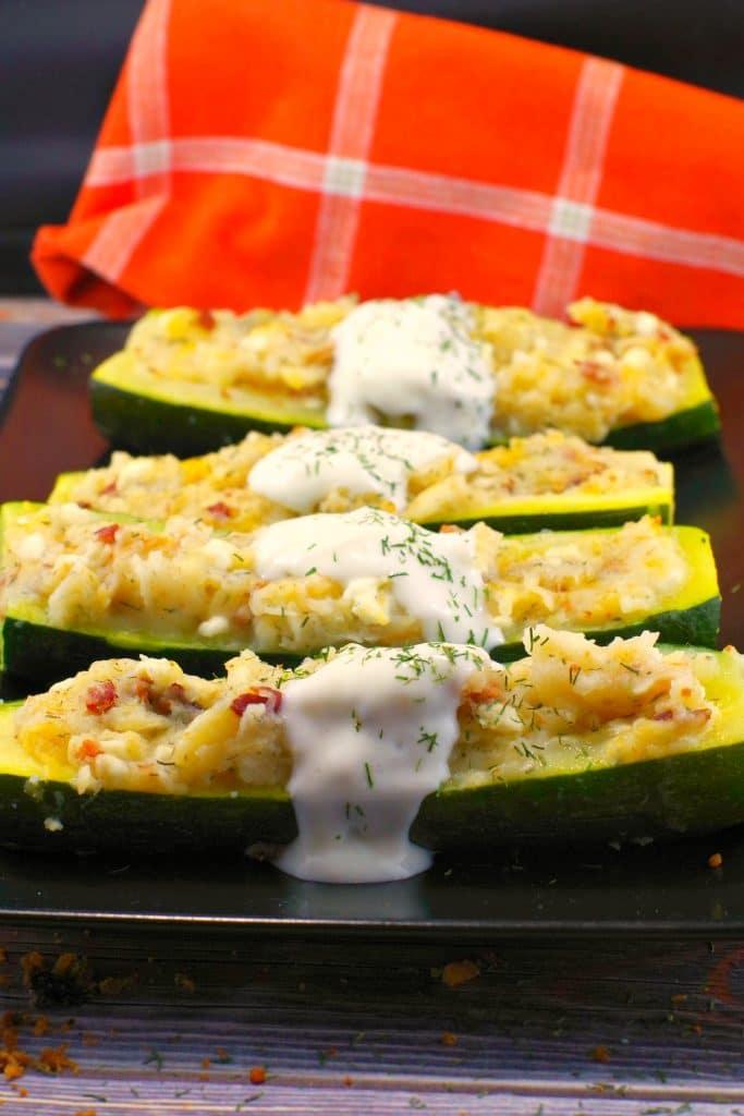 Perogy Zucchini Boats Recipe | #perogy #zucchini - Foodmeanderings.com