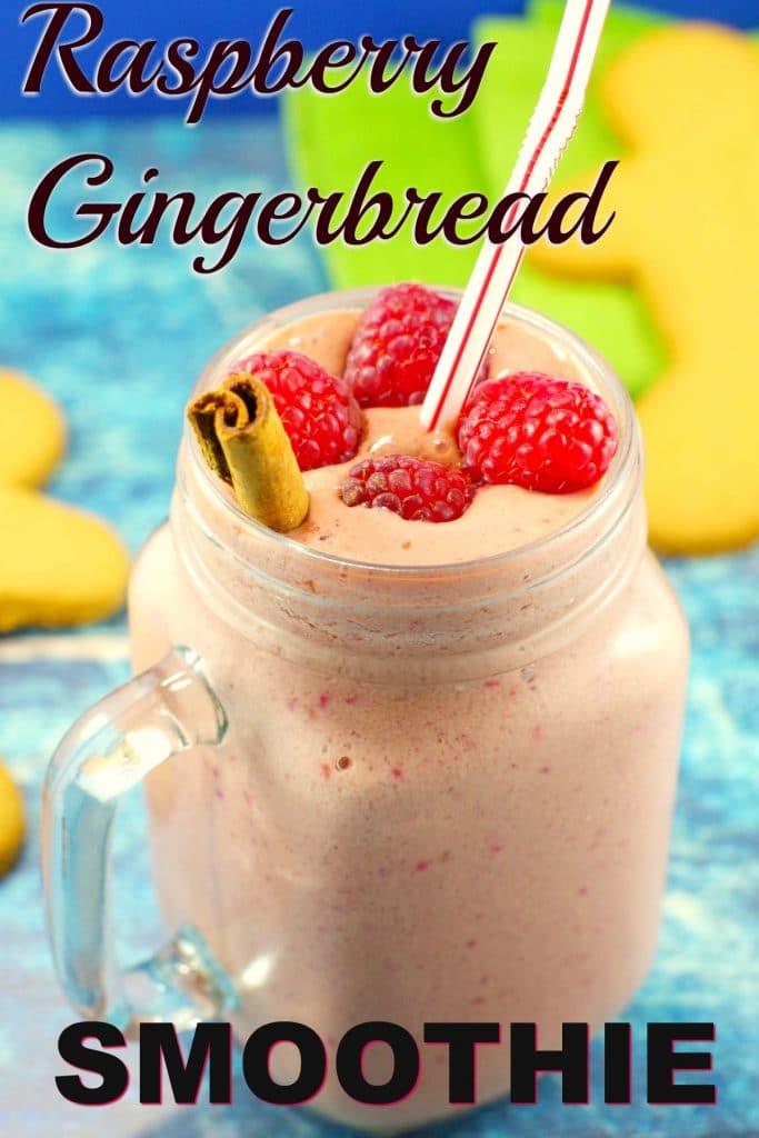 Raspberry Gingerbread Smoothie | #healthysmoothie- Foodmeandeirngs.com