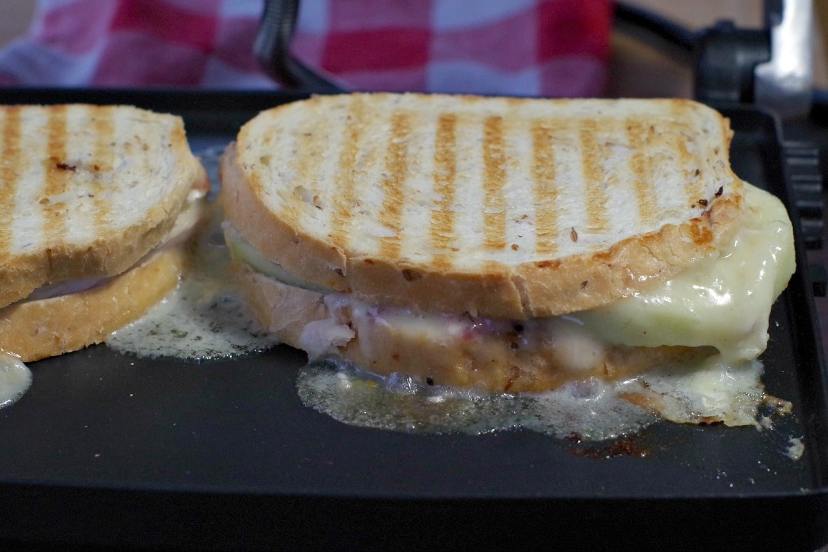 turkey cranberry sandwich on panini press