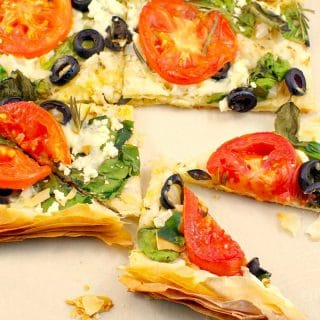 Greek Vegetarian phyllo pizza