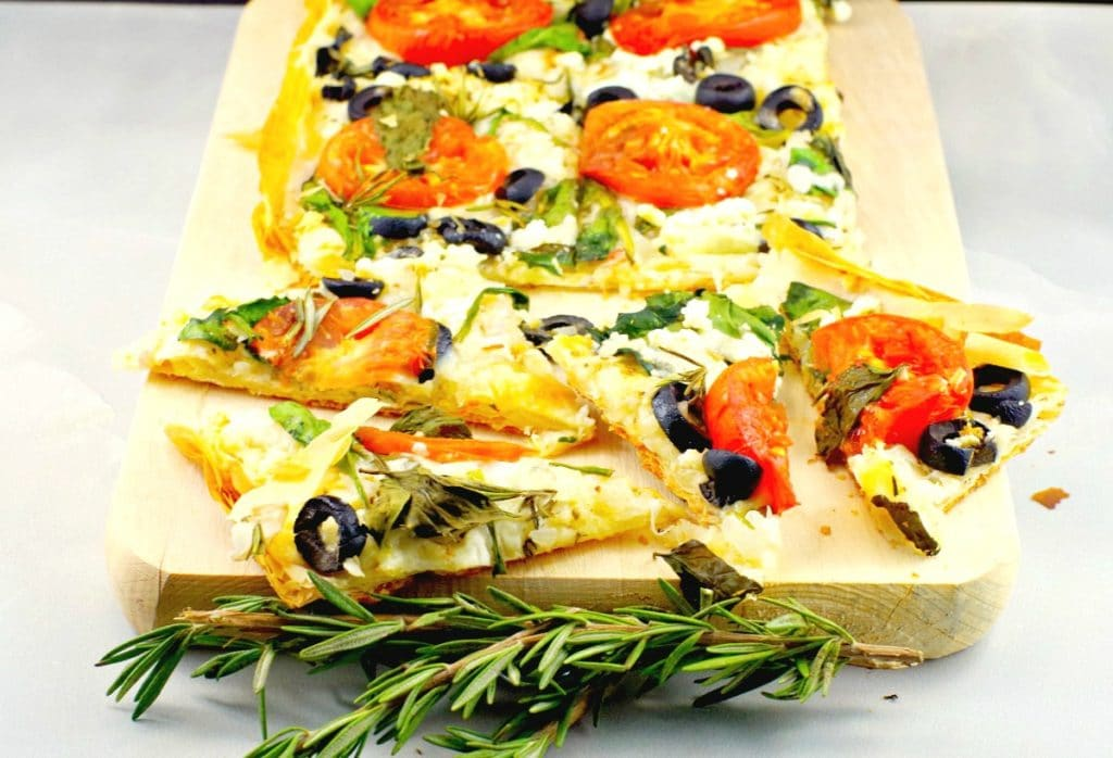 Greek Vegetarian phyllo pizza recipe