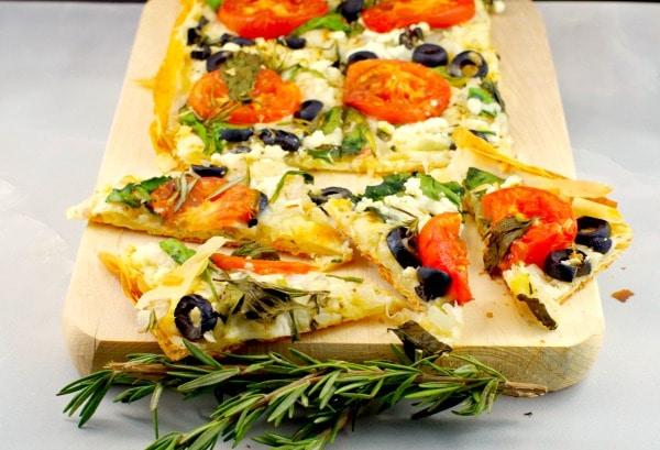 Greek-style Vegetarian Phyllo Pizza