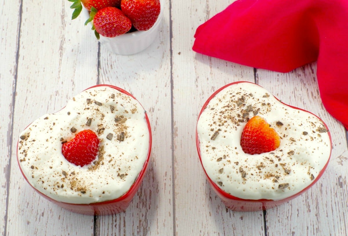 Healthy Chocolate Strawberry Valentine's Day Cake - heart-shaped