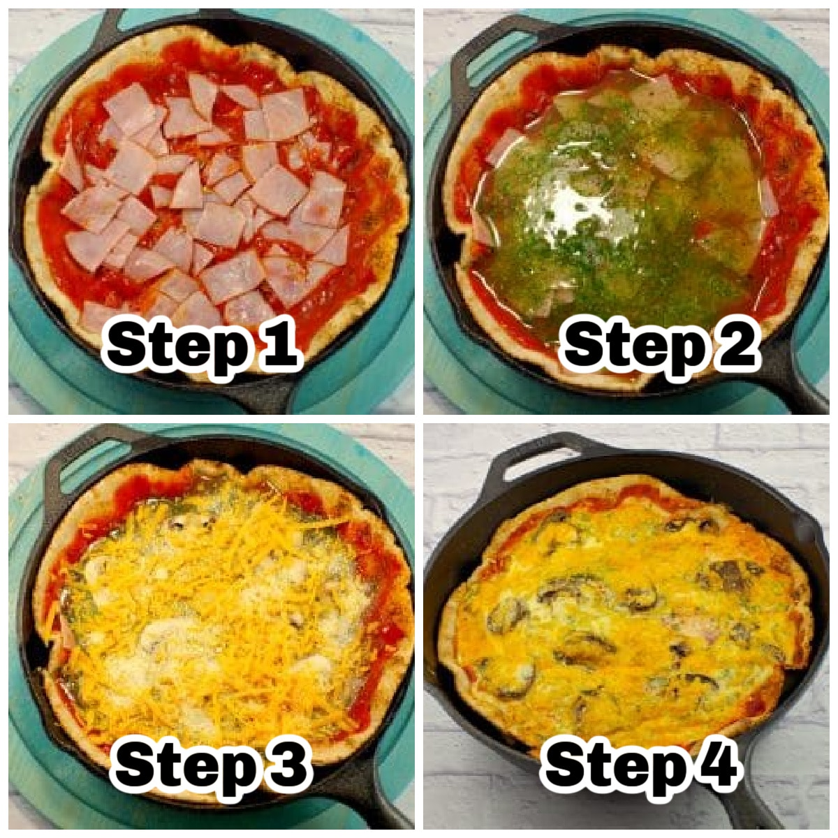 collage of 4 photos showing steps to make healthy egg white breakfast pizza