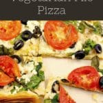 pin with text at top and photo of Greek vegetarian filo pizza, cut into triangles