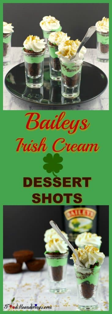 Baileys Irish Cream Dessert Shots - St. Patrick's Day dessert - Foodmeanderings.com